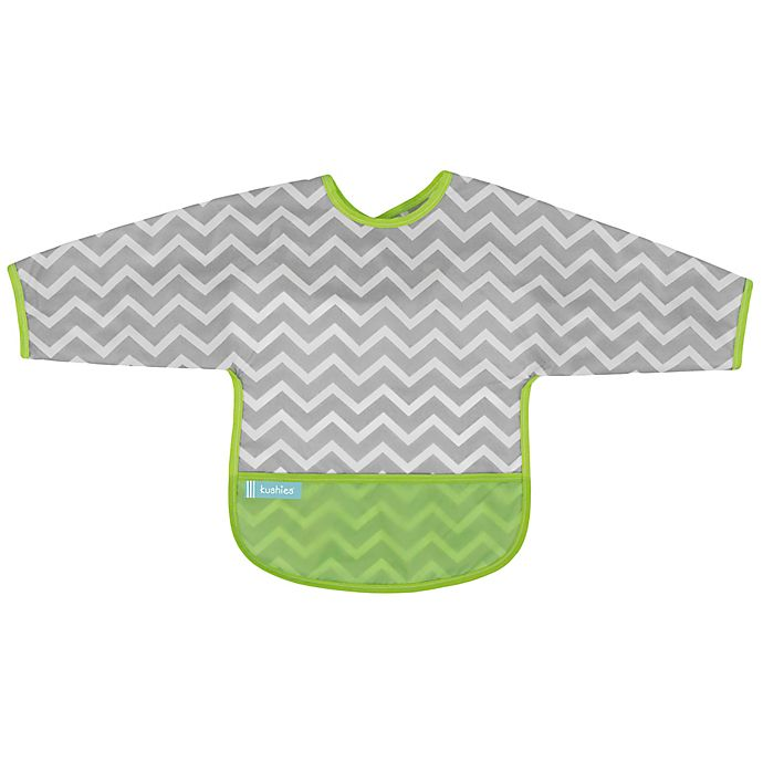 Alternate image 1 for Kushies® Chevron Cleanbib with Sleeves in Green