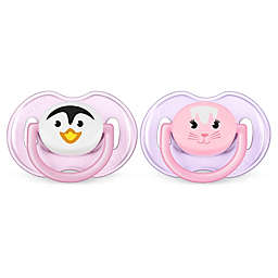 Philips Avent 0-6M 2-Pack Animal Soothers in Pink/Purple