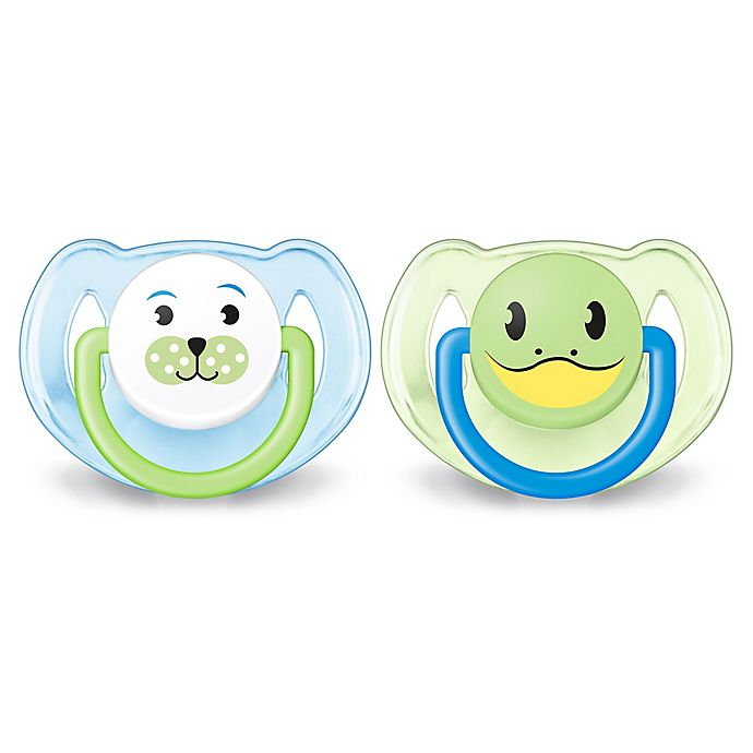 Alternate image 1 for Philips Avent 6-18M 2-Pack Animal Soothers in Blue/Green