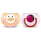 Philips Avent 6-18M 2-Pack Animal Soothers in Orange/Pink