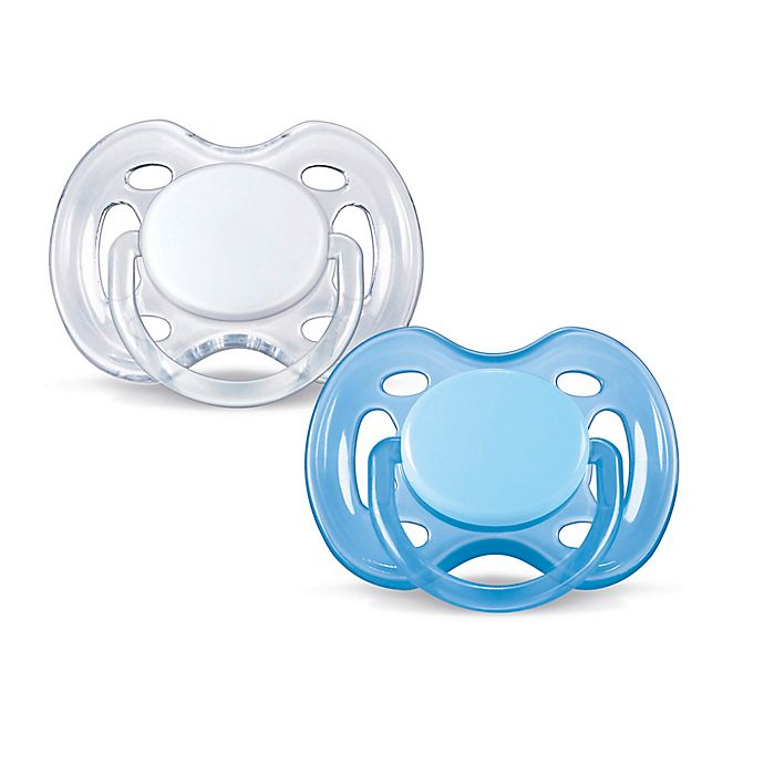 Alternate image 1 for Philips Avent 0-6M 2-Pack Freeflow Pacifiers in Blue/White