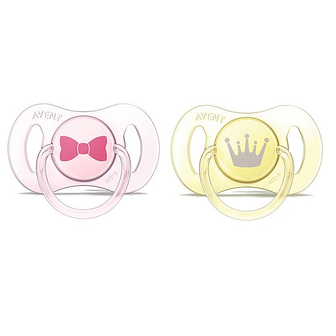 Alternate image 1 for Philips Avent 0-2M 2-Pack Novelty Bow/Crown Pacifier in Pink/Yellow
