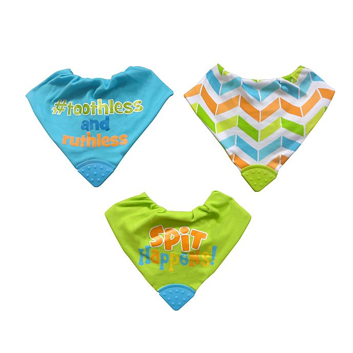 Alternate image 1 for Neat Solutions® 3-Pack Bandana Bibs with Teethers in Green/Aqua