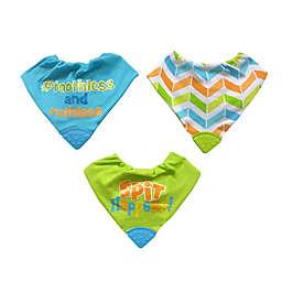 Neat Solutions® 3-Pack Bandana Bibs with Teethers in Green/Aqua