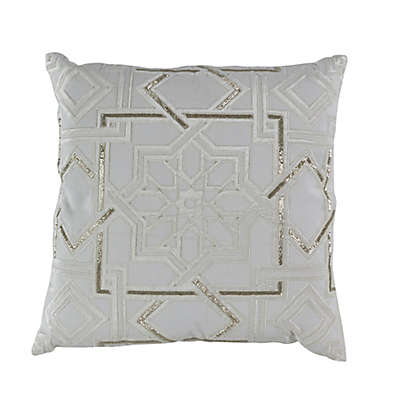 Callisto Home Moroccan Beaded 20-Inch Square Throw Pillow in Crème