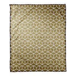 Designs Direct Glam Collection Boxes Throw Blanket in White/Gold