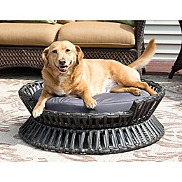 Iconic Pet Rattan Raised Arc Bed in Brown/Grey