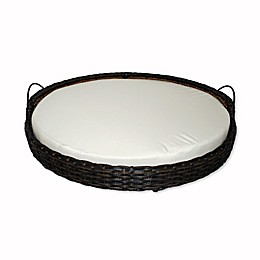 Iconic Pet Rattan Round Basket in White/Brown