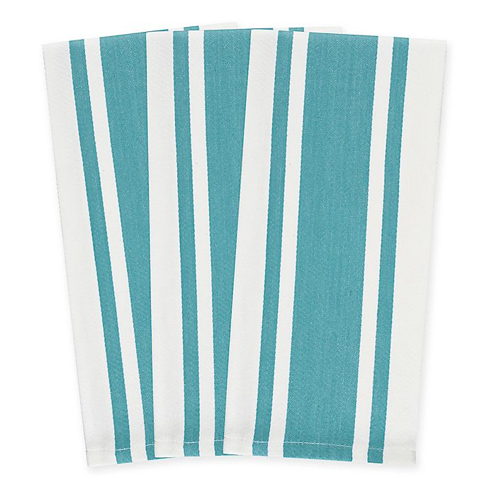 Alternate image 1 for Heavyweight Striped Kitchen Towels in Caribbean Blue (Set of 3)