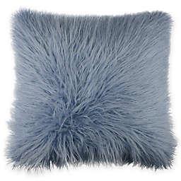 Flokati Faux Fur 18-Inch Square Throw Pillow in Ocean Blue