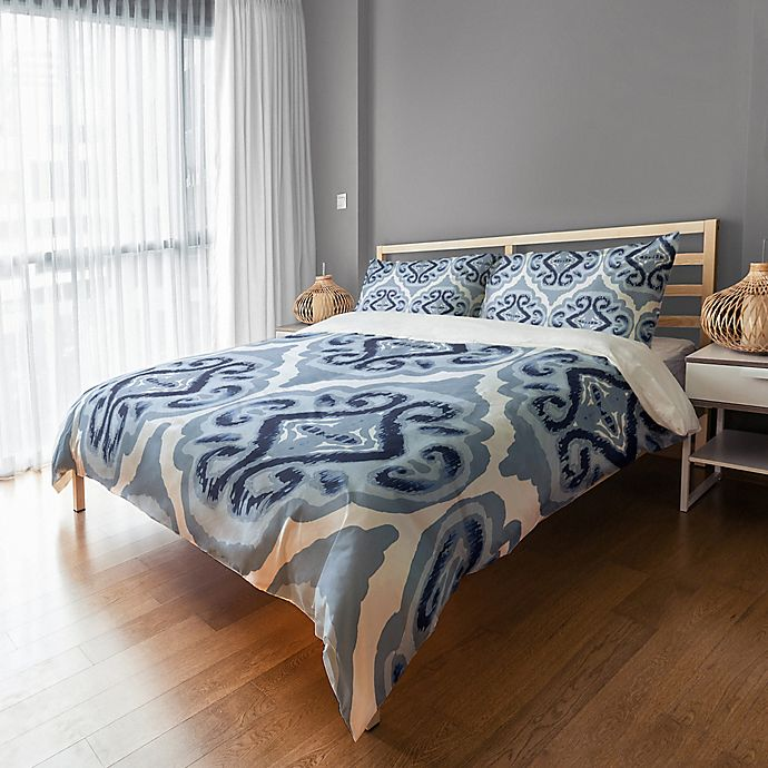 Alternate image 1 for Classic Watercolor Ikat Queen Duvet Cover in Blue/White