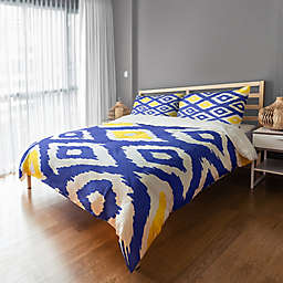 Designs Direct Classic Diamond Ikat Duvet Cover in White/Blue/Yellow