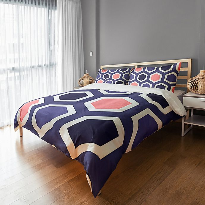 Alternate image 1 for Geometric Twin Duvet Cover in Navy/Pink/White