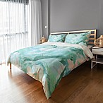 Marble Watercolor King Duvet Cover in Blue/White