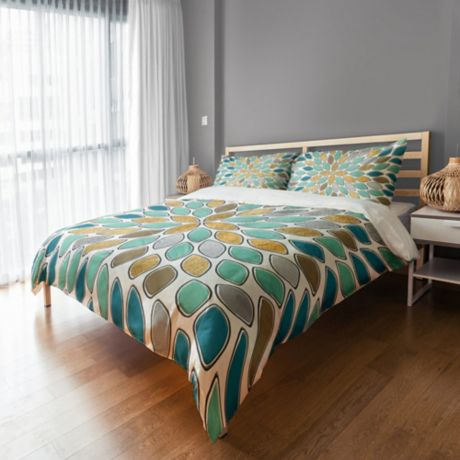 Buy Petals Queen Duvet Cover In Blue Teal Gold From Bed