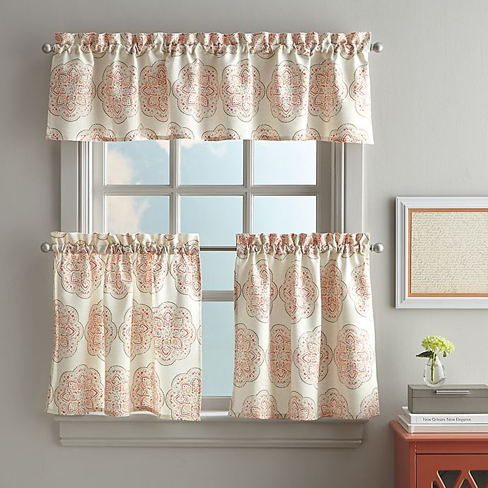 Namaste Kitchen Window Curtain Tier And Valance In Coral