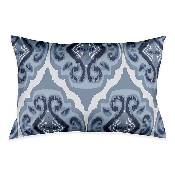 Alternate image 1 for Classic Watercolor Ikat Pillow Standard Sham in Blue/White