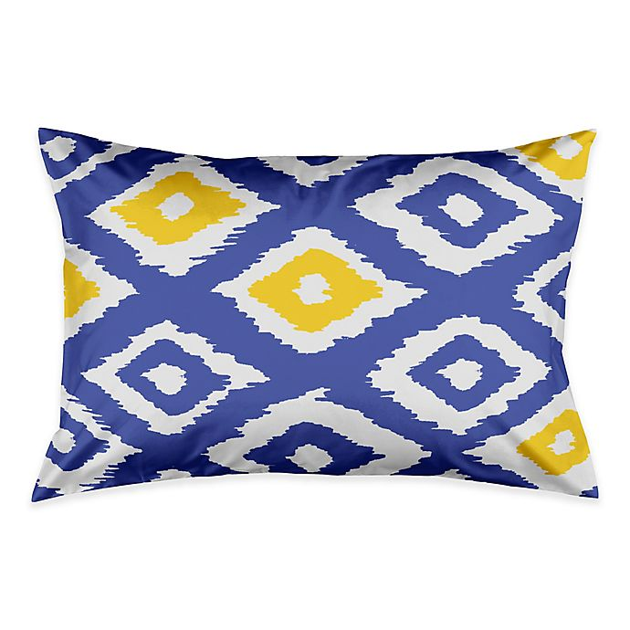 Alternate image 1 for Designs Direct Classic Diamond Ikat King Pillow Sham in White/Blue/Yellow