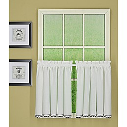 Today's Curtain Alpine 2-Tone Crochet Kitchen Window Curtain Tier Pair in Black/White
