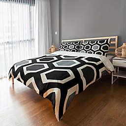 Geometric Duvet Cover in Grey/Black/White