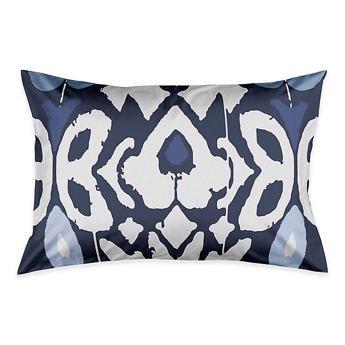 Alternate image 1 for Floral Ikat Pillow King Pillow Sham in Blue/White