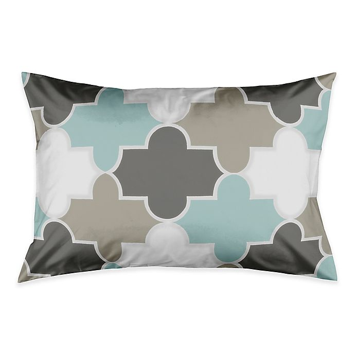 Alternate image 1 for Serene Quatrefoil Standard Pillow Sham in Grey/Light Aqua