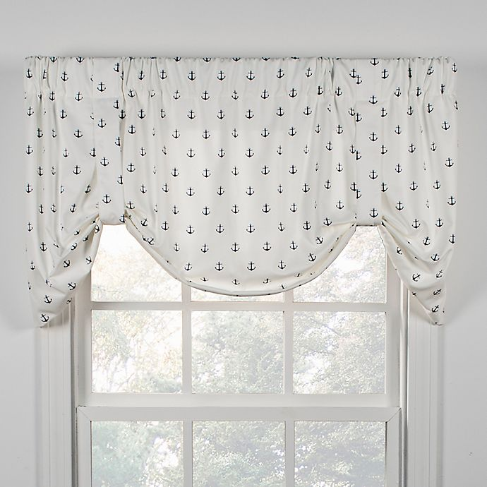 Alternate image 1 for Voyage Tie-Up Window Valance in White/Navy