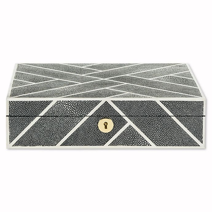 Alternate image 1 for Safavieh Couture Ebba Faux Shagreen Box with Keyhole in Black