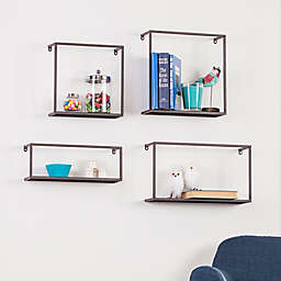 Holly & Martin Zyther 4-Piece Metal Shelf Set in Antique Black