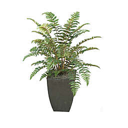 D&W Silks Leather Fern in Square Metal Planter