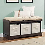 Forest Gate 42  Contemporary Wood Storage Bench with Totes and Cushion in Espresso