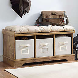 Forest Gate 42 Contemporary Wood Storage Bench With Totes And Cushion