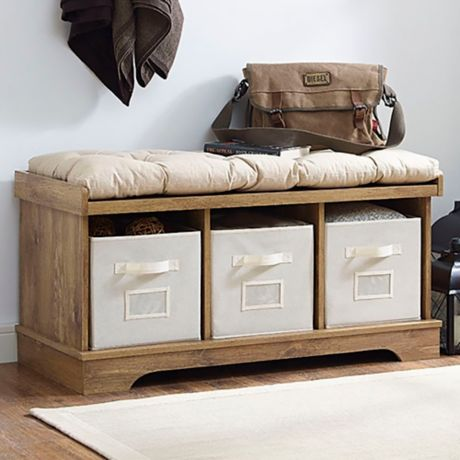 Forest Gate 42 Quot Contemporary Wood Storage Bench With Totes
