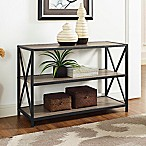Forest Gate 40-Inch X-Frame Metal and Wood Bookshelf in Driftwood