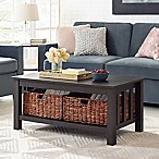Forest Gate 40  Contemporary Wood Storage Coffee Table with Totes in Espresso