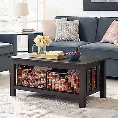 """Forest Gate 40"""" Contemporary Wood Storage Coffee Table with Totes"""