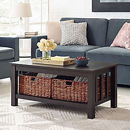 "Forest Gate 40"" Contemporary Wood Storage Coffee Table with Totes"