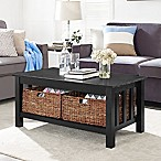 Forest Gate 40  Contemporary Wood Storage Coffee Table with Totes in Black
