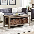 Forest Gate 40  Contemporary Wood Storage Coffee Table with Totes in Driftwood