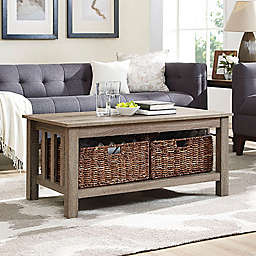 Forest Gate™ 40-Inch Contemporary Wood Coffee Table with Totes in Driftwood