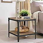 Forest Gate Wheatland Collection Angle Iron Rustic Wood End Tables in Chestnut (Set of 2)