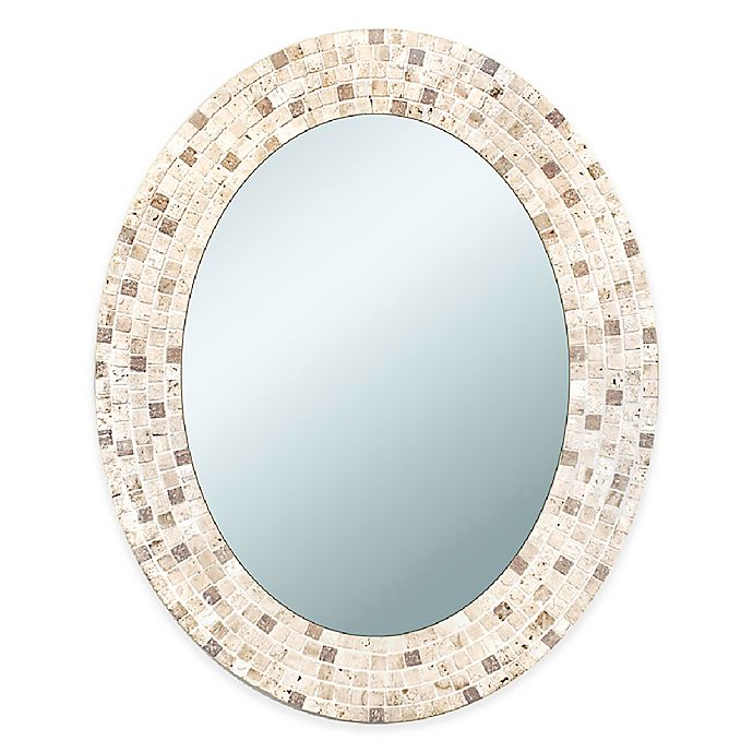 Alternate image 1 for Travertine Mosaic 24-Inch x 30-Inch Mirror