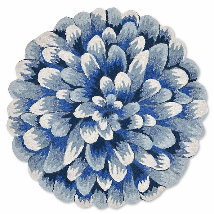 Alternate image 1 for Liora Manne Frontporch Mum 3-Foot Round Indoor/Outdoor Mat in Blue