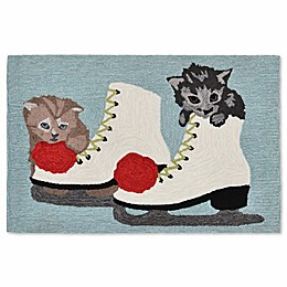 Liora Manne Frontporch Ice Skates and Kittens Indoor/Outdoor Mat