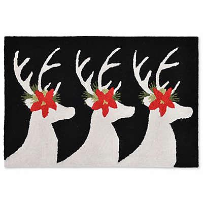 Liora Manne Frontporch Reindeer Indoor/Outdoor Mat in Black