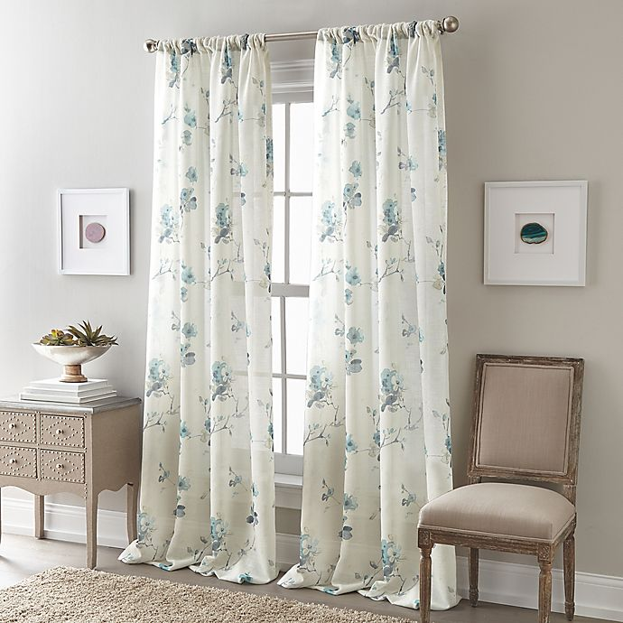 Alternate image 1 for Zen Floral Rod Pocket Semi-Sheer Window Curtain Panel