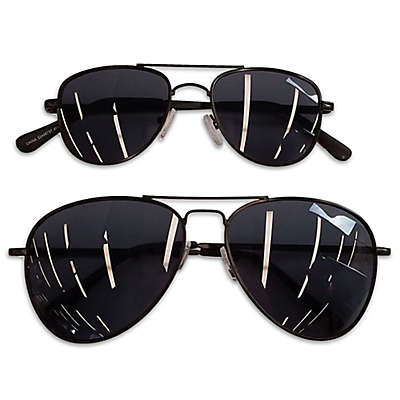 Daddy & Me Tiny Treasures 2-Piece Aviator Sunglasses Set in Black