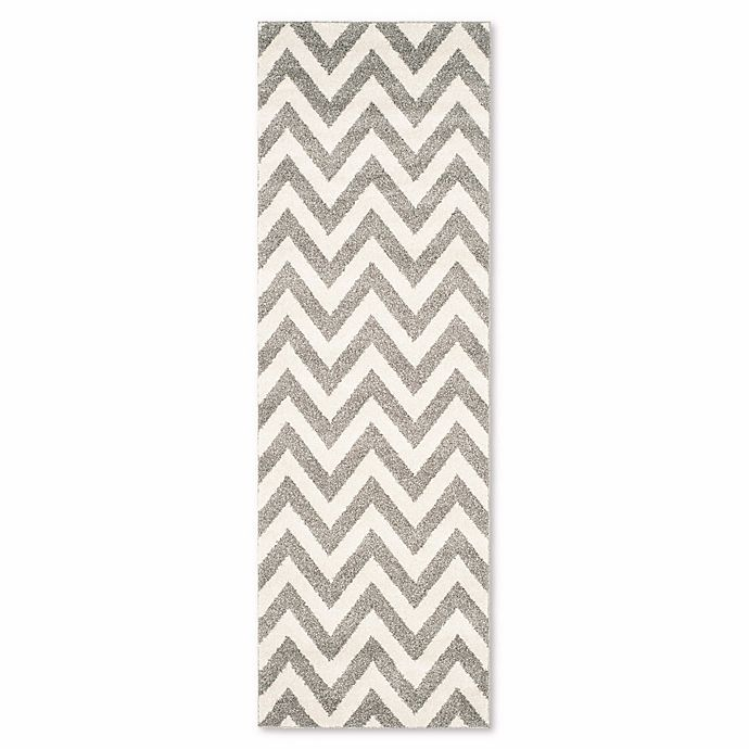 Alternate image 1 for Safavieh Amherst Chevy 2-Foot 3-Inch x 11-Foot Indoor/Outdoor Rug in Dark Grey