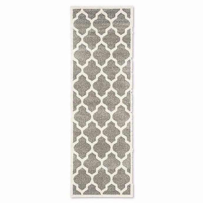 Alternate image 1 for Safavieh Amherst Whirl 2-Foot 3-Inch x 9-Foot Indoor/Outdoor Rug in Dark Grey