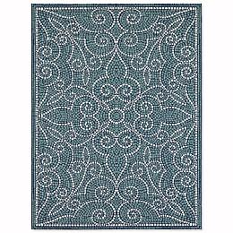 Mosaic Tile Indoor/Outdoor Area Rug in Blue